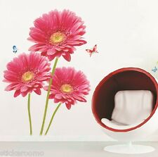 RED BIG FLOWERS KIT BASEBOARD REMOVABLE WALL ART STICKERS VINYL HOME DECORATION