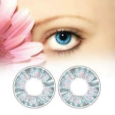 1 Pair Contact Lenses Color Soft Big Eye UV Protection Cosmetic Blue Clover EH