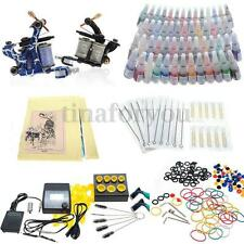 Complete Tattoo Kit 2 Machines Set Gun 54 Color Inks Power Supply Footdal Set