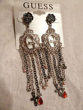 GUESS FASHION EARRING DANGLING LARGE SILVER WITH CROSS GOTHIC STYLE