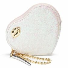 Juicy Couture Iridescent White / Pink Glitter Heart Wristlet Purse Clutch Purse