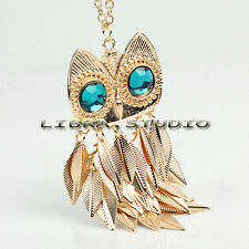 Fashion Retro Gold Leaves Blue Eye Owl Pendant Long Necklace Sweater Chain Hot