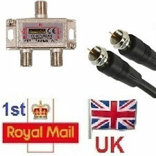 2 Way Satellite Cable Splitter Tee Kit 1.5m Joins SKY to Openbox Skybox V8  K02