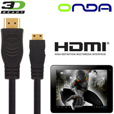 Onda Vi40, V972, Vi10, v812 Android Tablet PC HDMI TV 2,5 M GOLD Cavo Cord Cable