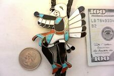 XL WILLIAM ZUNIE Zuni BOLO TIE Eagle Dancer Sterling Silver, Blue Gem Turquoise!