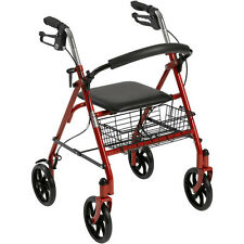 Drive Medical Rollator Folding Walker Adult 4 Wheels 10257RD *NEW* Free Ship