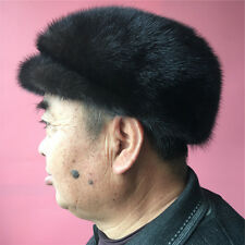 Men's Real Mink Fur Winter Hat Cadet Beret Visor Cap- Coffee Dark Brown.