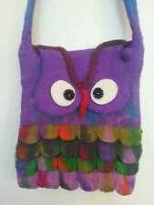 OB3 OWL BAG NEPAL : Handmade Multi-color Felt Cotton Lined AZO Free Cute Purse