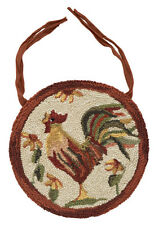 New Primitive Country French Rooster Wool Hooked Rug Chair Pad Seat Cushion