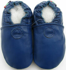 soft sole leather baby shoes solid blue 3-4t