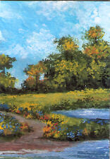 ACEO impressionist landscape trees lake flowers original painting by MOTYL