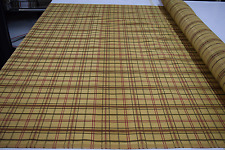 "TAN RED GREEN STRIPE PLAID UPHOLSTERY WEIGHT HIGH END FABRIC 56""W BTY"