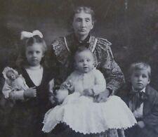"Early 1900 Photo Mom + 3 Children-Girl/Doll-Baby/Bottle-Boy Big Bow 4"" x 5 1/2"""
