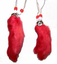 2 RED RABBIT FOOT NECKLACE w beads suede leather bunny feet jewelry mens womens