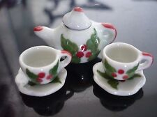 Christmas Hand Paint Coffee Cup/Saucer/Teapot Dollhouse Miniatures Holiday Seaso