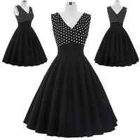 Ladies 50's Retro Vintage Sexy Black Pin Up Swing Prom Polka Dot Cocktail Dress
