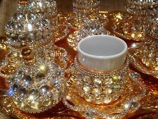 Handmade british turkish  tea Serving REAL  Swarovski BEADS cOMPLATE coffee set