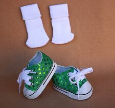 Doll Shoes fitting 18 in American Doll Green Glittering Tennis Shoes & Socks