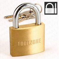 Strong 40mm Padlock -SOLID BRASS- 3 Keys Toolbox Safety Gate Door Security Lock