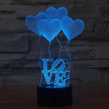 LOVE Model 3D Acrylic LED Night Light Touch Switch Desk Table Lamp Gift