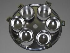 """Vintage Stainless Steel 10"""" Egg Poacher Insert 6 cup With Handles"""
