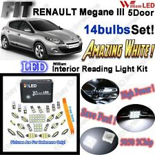 14pcs Xenon White LED Interior Light Kit Package For RENAULT Megane III 5 Door