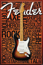 FENDER - MUSIC WORDS POSTER - 24x36 COLLAGE STRAT GUITAR 241279