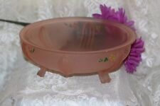 Vintage Pink Depression Frosted Footed Glass Fruit Console Bowl Hand Painted