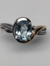 New 10K White and Yellow Gold Oval Shape Natural Aquamarine and Diamond Ring