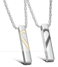 "Stainless Steel ""Love is Beloved"" Broken Heart Couple Lovers Necklace 1 Pair"