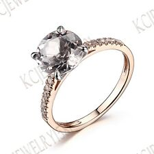 Solid 10K White & Rose Gold Morganite Jewelry Prong Setting Gemstone Fine Ring