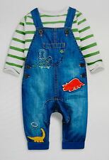 ♡ Next ♡ BNWT ☆ Baby Boy Cute DINO Denim Dungarees & Bodysuit set 6-9 Months