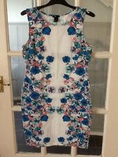 Ladies White Floral Cotton Stretch Dress From H&m Size14