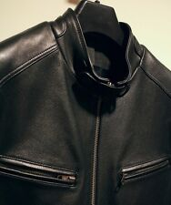 Cole Haan pebbled black Leather motorcycle motto jacket