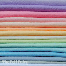 Wool Mix 9 inch Felt Squares 15 x Pastel Colours + Matching Thread FREE P&P