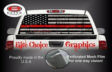 Firefighter Red Line Flag Rear Window Graphic Decal Sticker Truck Van Car SUV