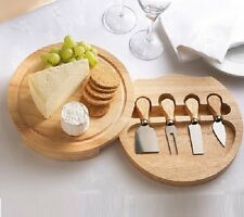 ROUND WOODEN SLIDE OUT CHEESE BOARD & 4 PIECE CHEESE KNIFE SERVING SET