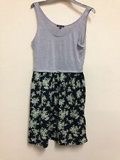 Warehouse UK Size 10 Grey Vest Black Green Floral Print Skirt Skater Dress
