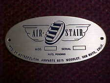 Douglas DC-3 Aircraft & other makes door & stair serial & data plate 1930s & 40s