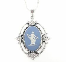 Wedgwood Jasperware Cameo on Pendant Necklace on Silver Plate Chain - Large