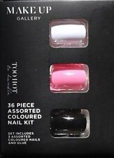 Make-Up Gallery Too Hot False Nails 36 Piece Black Pink & White With Glue New