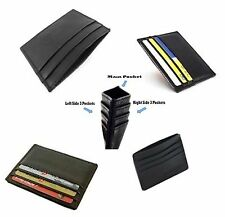 GENUINE LEATHER MENS SMALL ID CREDIT CARD WALLET HOLDER SLIM CASE POCKET