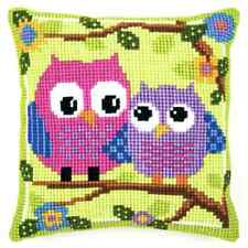 Bright Owls Large Holed Tapestry Canvas Cushion Kit/Printed Chunky Cross Stitch