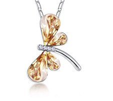 Fashion Womens Dragonfly Gold Crystal Rhinestone Silver Chain Pendant Necklace ~