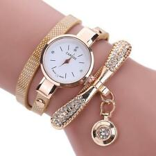 Women Bracelet Bangle Watch Lady Leather Band Quartz Analog Wrist Watch Gift