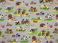 FARM YARD GREY A24 100% COTTON CURTAIN DRESSMAKING CHILDRENS FABRIC ANIMALS