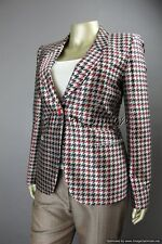 $3725 New GIORGIO ARMANI Black Red Gray Houndstooth Silk Blazer Jacket 10 44