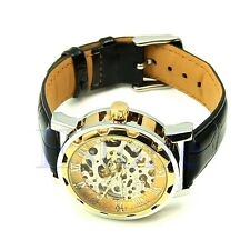 Hot! Classic Mens Leather Skeleton Gold Dial Mechanical Sport Army Wrist Watch