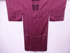 VINTAGE JAPANESE KIMONO, ANTIQUE RAIN COAT / WOVEN STRIPES / CRANBERRY SILK