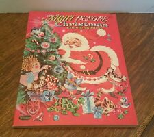 Vtg1963 Whitman Night Before Christmas Coloring Book Flocked Santa Suit NOS